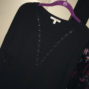 Long sleeve black lace up top!